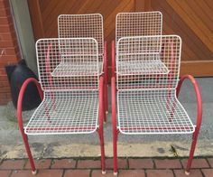 4 EMU Italy Red & White Wire Chairs By Jean Marie Massaud Mid Century Modern MCM #EMUItaly