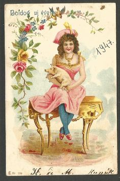 "Pig with Lady Vintage Lithograph ""Happy New Year"" Greeting Postcard from 1903 