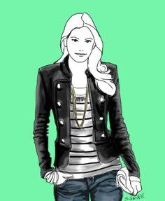 Wenn Sie eine dunkle Jacke darüber anziehen und diese offen tragen, können auch O-Figurtypen schmale Streifen-Tops tragen.