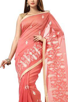 Peach & Attached Brocade Border Embroidery Cotton Silk Kota Saree