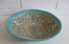ceramic light blue bowl, orginal decoration, good for serving, Hanja by htceram on Etsy