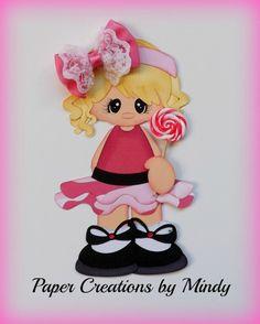 ELITE4U lollipop girl kid summer premade paper piecing scrapbooking page pink