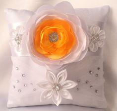 """Ring Pillows """"Empress"""" Ring Pillows, Gold Pillows, Satin Flowers, Fabric Flowers, Shibori, Ring Pillow Wedding, Wedding Ring, Kanzashi Tutorial, Ring Bear"""