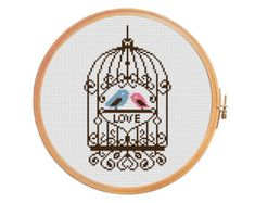 Love birds in a cage - Cross stitch pattern - Valentine's Day - brown pink blue - forged ornament - curls cell