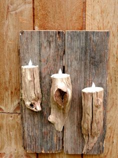 Rustic Barn Wood & Driftwood with LED Tea Lights - great DIY project or click through to Etsy to purchase for $30.00