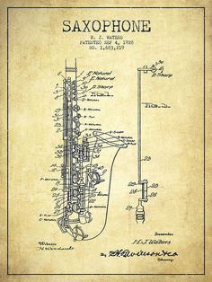 Saxophone Poster featuring the drawing Saxophone Patent Drawing From 1928 by…