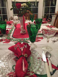 vintage Christmas dinner table setting