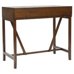 """Pine wood console table in walnut with a pull-out work surface.  Product: DeskConstruction Material: Pine wood and metalColor: Dark walnutFeatures: Work surface slides out from under the lid of the deskTwo drawers Dimensions: 36"""" H x 40"""" W x 22"""" D"""