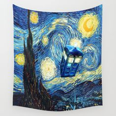 Soaring Tardis doctor who starry night oil painting Wall Tapestry