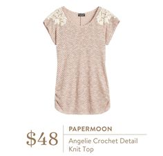 #stitchfix @stitchfix stitch fix https://www.stitchfix.com/referral/3590654 Stitch Fix April 2016 - Papermoon Angelie Crochet Detail Knit Top $48