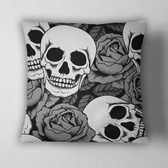 Silver Rose Skull Decorative Throw Pillow