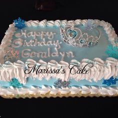 Crown frozen birthday cake. Visit us Facebook.com/marissa'scake or www.marissa'scake.com