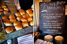 Possible idea for Burger Bar.Matthews has a burger restaurant (MShak) Diy Wedding Reception, Reception Food, Wedding Catering, Wedding Ideas, Wedding Receptions, Catering Logo, Reception Ideas, Wedding Trends, Wedding Vendors