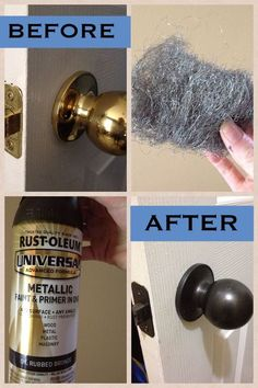 DIY: We have outdated hardware all throughout our home since our house was built in the mid 90's. We are on a budget, so a handy friend of mine told me to spray paint everything. The guy at Home Depot recommended this spray paint, and to use steel wool on the metal to help with saturation. It'll be interesting to see how it holds up with wear and tear, but for now I'm impressed!