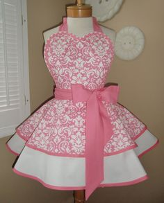 Pink Damask Print Womans Retro Apron With Tiered Skirt And Bib, Featuring Heart Shaped Bib...PLUS SIZE on Etsy, $55.00