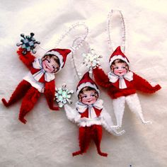 Christmas Pixie Vintage Style CHENILLE Ornaments  - Snowflake  -  Holiday ornaments - (122)
