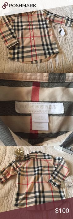 Boys Burberry Shirt  Used only for a few hours Like New ... Such an Elegant  Signature Shirt ...Extra button included ...Accepting Reasonable offers only... Burberry Tops Button Down Shirts