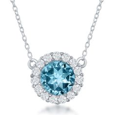 La Preciosa Sterling-silver Gemstone and White Topaz Circle Pendant (Blue Topaz), Women's, Size: 18 Inch