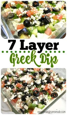 7 Layer Greek Dip. Party or snack dip idea. Refreshing summer dip to bring to parties. Light and easy to make in just a few minutes. #easydip #healthyrecipe #summerrecipe