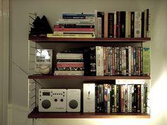 New shelf (stringhylla) and the Audio Tivoli iSongbook. Slightly unbalanced, I just noticed. Guerrilla Advertising, Bookcase, Shelves, Audio, Home Decor, Shelving, Decoration Home, Room Decor, Book Shelves