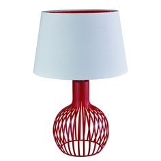 Red Cage Table Lamp With White Shade And Red Inner - Searchlight 7381RE