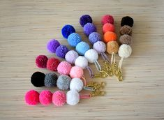 Choose any 2 Handmade Tulle pom pom Hair ClipPom pom hair Pom Pom Purse, Pom Pom Bag Charm, Pom Pom Crafts, Yarn Crafts, Diy And Crafts, Diy Keychain, Tassel Keychain, Rose Pompon, Do It Yourself Baby