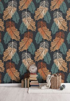 Shedding Wallpaper in Indian Autumn Colourway by Print Paper Cloth. Milton & King