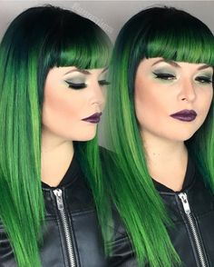 Smoldering Sexy Neon Green Hair Color design and Bettie Page bangs by Vanessa Firman  instagram.com/hotonbeauty