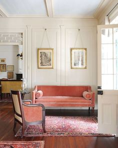 Stunning woodwork and color in this understated sitting area by Susan Sully. Vintage carpet. Love the cream color.