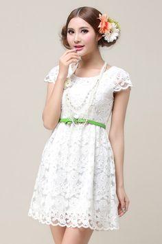 ROMWE | Cut-out Lace White Dress, The Latest Street Fashion