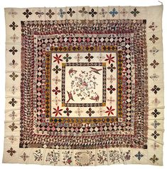 The Rajah quilt, cotton, chintz applique, silk thread embroidery, made by unknown female convicts aboard the Rajah from Britain to Australia, 1841