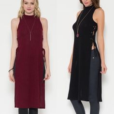 """Poker"" Lace Up Side Mock Neck Top Tunic Sleeveless mock neck top tunic with a lace up side. Available in black and burgundy. This listing is for the BURGUNDY. Brand new. True to size. Model is wearing the size small. NO TRADES DON'T ASK. Bare Anthology Tops Tunics"