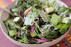 Kale and Avocado Salad with Creamy Hemp Seed Dressing by Daily Garnish