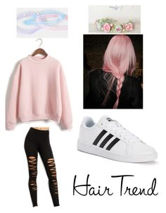 """Hair Trend~ Pastel Pink"" by justabbi on Polyvore featuring beauty, WithChic, adidas, hairtrend and rainbowhair"