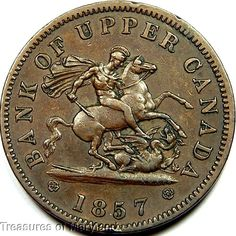 """""""St George the Dragon Slayer"""" 1857 BANK OF UPPER CANADA One Penny Sku #QP30"""