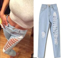 Trendy Ripped Denim Skinny Jeans