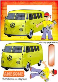 Skate boarding dude with yellow camper van on Craftsuprint designed by Nick Bowley - Skate boarding dude with yellow camper van, also can be seen in other designs, makes a great card - Now available for download!