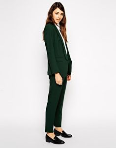 A business look needs to seasonally evolve in order to maintain forward progress in the market it works, so go dark bottle green and own the space you work in. Together the pieces are a strong look at $141.23 for the two. Separately they are great wintery skinny pants with a crop to show socks or high ankle boots and a killer blazer to dress up t-shirts and sweaters alike.  ASOS Crepe Co-ord