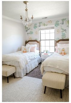 Girls Room Makeover with Before & After Pictures #two #twin #beds #girls #room #twotwinbedsgirlsroom Looking for some Girls Room Makeover ideas? Utah lifestyle blogger just re-decorated her girls' bedroom and shares her before and after pictures. Click here now to see the change and get ideas! Twin Girl Bedrooms, Little Girl Rooms, Twin Bedroom Ideas, Twin Room, Shared Bedroom Girls, Master Bedrooms, Bed Room, Sister Room, Room Inspiration