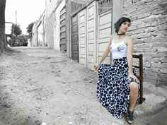 Maxi falda motas  paisaje Asuncion