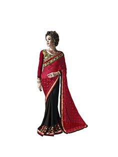 a5d5f94b3f2  Nayonikaa  Women s Black Faux  Georgette  Saree with Un-Stitched Blouse  Piece