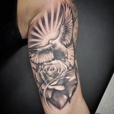 """""""Dove & Rose"""" Did this addition to a sleeve in progress on the home gurl Good placement and flows nice with an old piece we… Inside Bicep Tattoo, Bicep Tattoo Men, Inner Bicep Tattoo, Forearm Tattoos, Tattoo Arm, Tribal Sleeve Tattoos, Best Sleeve Tattoos, Tattoo Sleeve Designs, Dove And Rose Tattoo"""