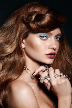 "3 Makeup Trends That Are About To Be HUGE   http://www.refinery29.com/couture-week-2015-makeup-trends#slide-7  On The Soft SideThe eyes and lips at Schiaparelli's show made a statement in their softness. Candy-bright shades usually added as a last-minute ""pop"" were applied with a light, almost-sheer treatment, and we took note.Fallon earring and rings, Jennifer Behr headpiece (worn as a necklace), Lele Sadoughi bracelet, Laruicci rings...."