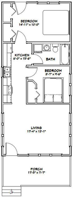 18x40 Tiny House -- 720 sqft -- PDF Floor Plan -- Model 3C 2 • $29.99