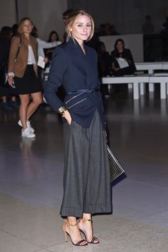 Olivia Palermo wearing Schutz Celina Ankle Strap Sandals, Reiss Arya Streamlined Blazer and Michael Kors Pleated Cuffed Culottes.