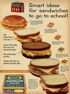 From the good folks at Kraft, a variety of unappealing sandwiches. The salami and cheese sandwich, OK. The others, never! Especially not the one with the cold hot dog slices!