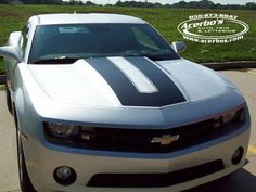 Silver Chevrolet Camaro with Custom Flat Black Hood Stripe Decal/Graphic ~ Acerbo's Auto Trim & Lettering (www.acerbos.com)