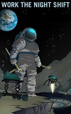 Work the Night Shift on Martian Moon Phobos.  NASA Mars explorers wanted series Giclee Reproduction Poster Print.