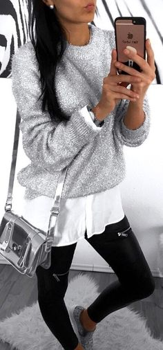 #winter #outfits gray glittered long-sleeved crew-neck shirt