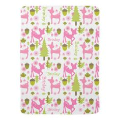 Hot Pink Deer Personalized Baby Blanket By Jill's Paperie Easy to personalize with your baby's name!